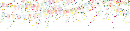 Illustration of seamless colored happy garlands and confetti on white background for carnival party or birthday template usage
