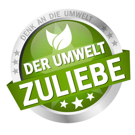 EPS 10 vector with round colored button with banner and text for the environment (in German)