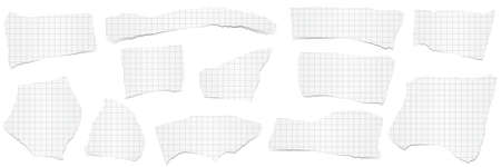 collection of white checkered scraps of papers with shadows