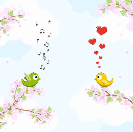 eps vector file with green and yellow colored singing and dreaming birds in love sitting on branches with blossoms and green leaves in spring time, background with sky and light clouds