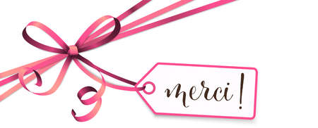 """EPS 10 vector illustration of pink colored ribbon bow and gift band isolated on white background with hang tag and greetings """"thanks"""" (french text merci)"""