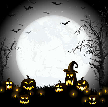 spooky halloween dead tree with some scary pumpkins in front of an full moon with bats Ilustração Vetorial