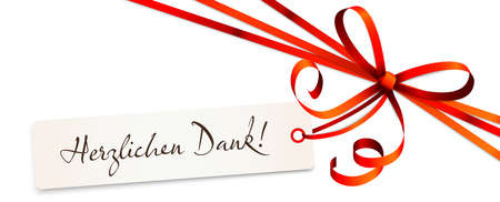 """EPS 10 vector illustration of red colored ribbon bow and gift band isolated on white background with hang tag and greetings """"thanks"""" (text German)"""