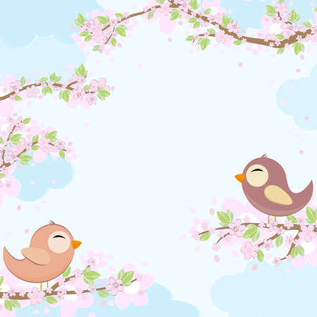 eps vector file with red and blue colored birds in love sitting on branches with blossoms and green leaves in spring time, background with sky and light clouds