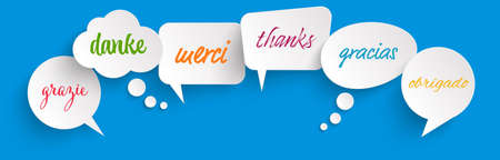 """EPS 10 vector illustration of colored speech bubbles row on blue background with greetings text """"thanks"""" in different languages"""