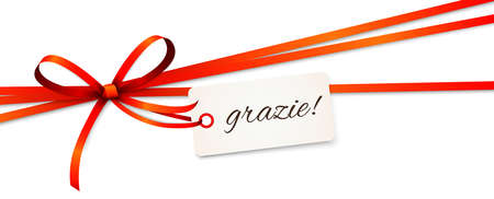 """EPS 10 vector illustration of red colored ribbon bow and gift band isolated on white background with hang tag and greetings """"thanks"""" (italian text grazie)"""