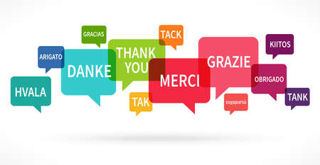 """EPS 10 vector illustration of colored speech bubbles row isolated on white background with greetings text """"thanks"""" in different languages"""