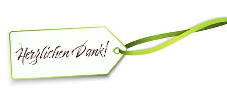 """EPS 10 vector illustration of hang tag and green colored ribbon band isolated on white background with greetings """"thanks"""" (text german)"""