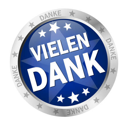 EPS 10 vector with round colored button with banner and text many thanks (in german)