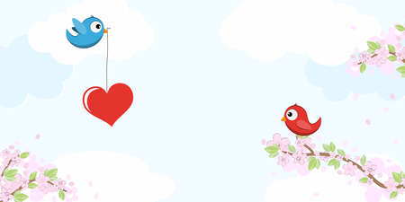 eps vector file with red and blue colored birds in love, flying and sitting on branches with blossoms and green leaves in spring time, holding big heart in beak, background with sky and light clouds
