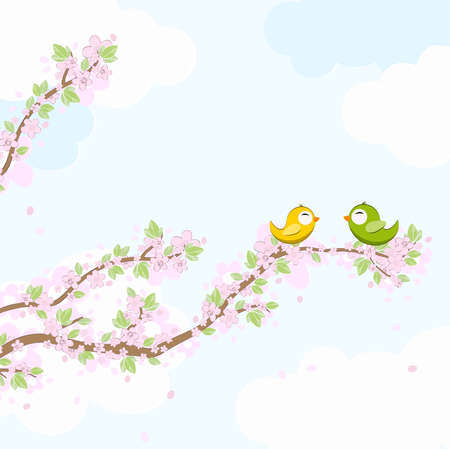 eps vector file with yellow and green colored birds in love, flying and sitting on branches with blossoms and green leaves in spring time, background with sky and light clouds