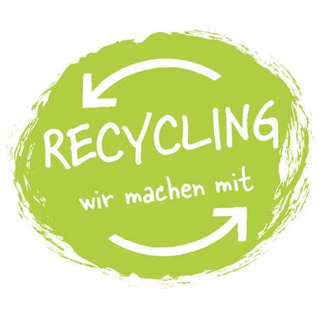 eps vector file modern green round grunge stamp with arrows, white text recycle (german) Vektoros illusztráció