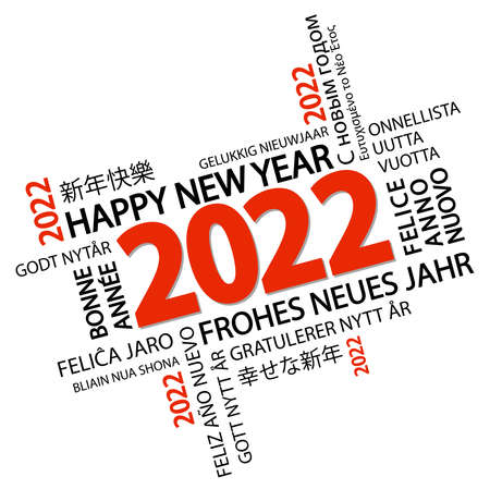 eps vector file with word cloud with new year 2022 greetings and white background