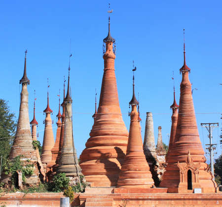 Group of stone pagodas at In Dien located on the southwestern side of Inle Lake, Myanmar
