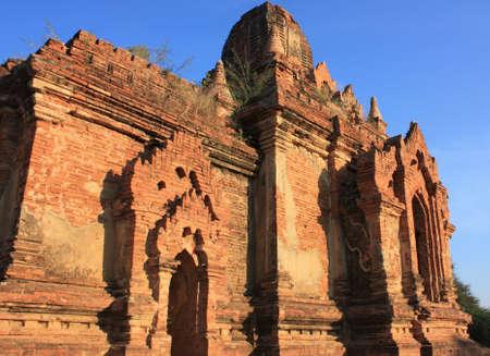 Old pagoda made of brick viewed at sunset at Bagan, Myanmar