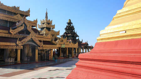 Mawlamyine, Mon State / Myanmar - December 7, 2019: View of temple buildings in courtyard of Kyaikthanlan Pagoda or Old Moulmein pagoda 에디토리얼