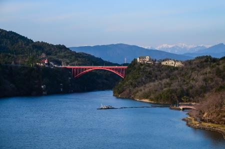 Enakyo Bridge in Gifu Prefecture, Japan  photo