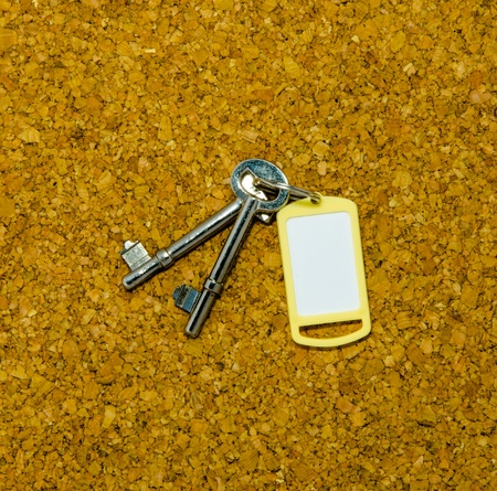 Blank yellow tag and two keys isolated on cork background photo