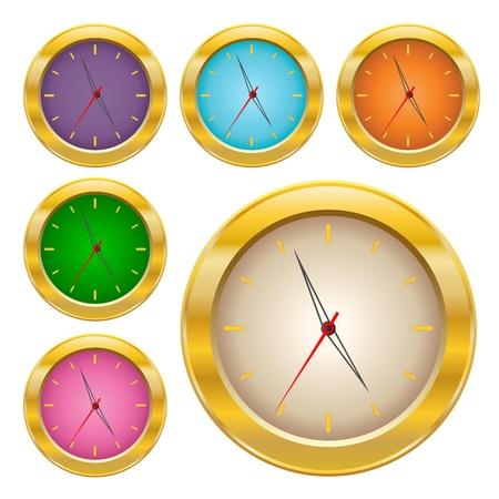 Gold clock icons Illustration