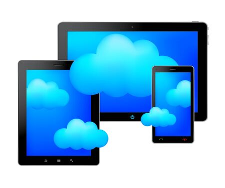 Tablets and clouds Stock Vector - 18008222