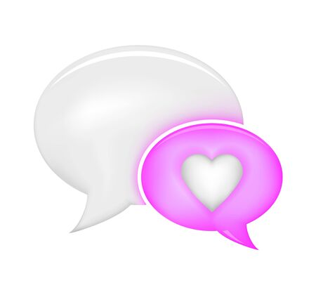 Pink and white speech bubble with heart