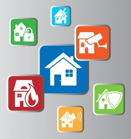 toegangscontrole: Huis beveiliging Stock Illustratie