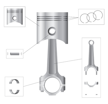 Piston and connecting rod parts Vector