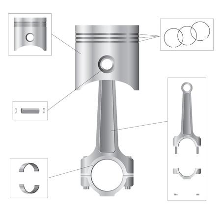 Zuiger en drijfstang onderdelen