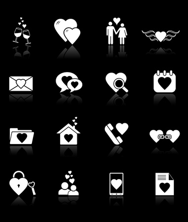 Love icons on black background