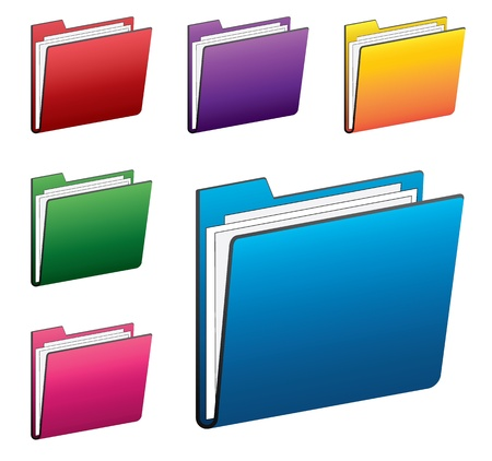 click icon: Colorful folder icons set
