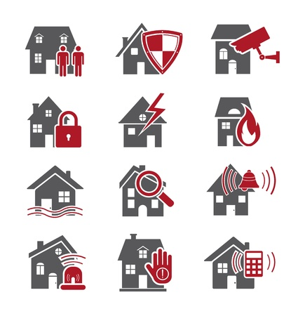 home safety: House security icons Illustration