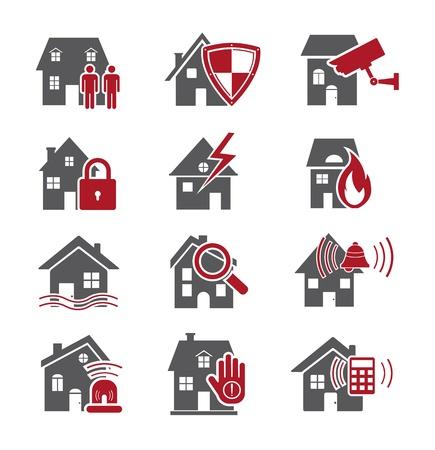 incendio casa: Iconos de seguridad de la casa