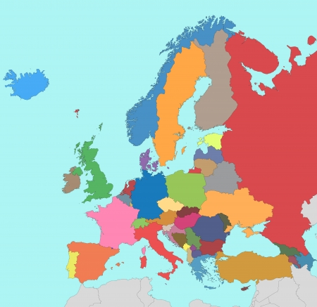 EUROPE MAP: Colorful map of Europe Illustration
