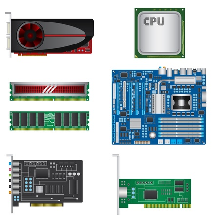 Computer parts set Stock Vector - 20246036