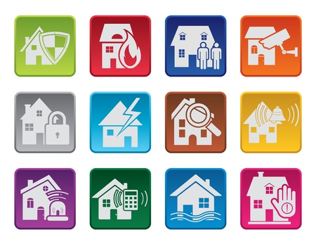 Colorful house security icons