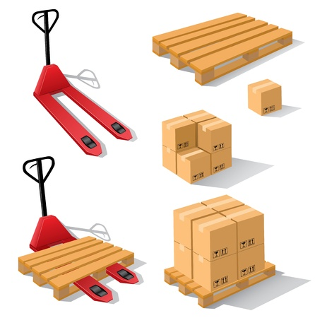 pallet: Hand forklift with pallets and boxes