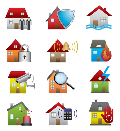 building fire: Home security icons Illustration