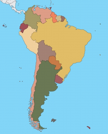 suriname: Colorful map of South America