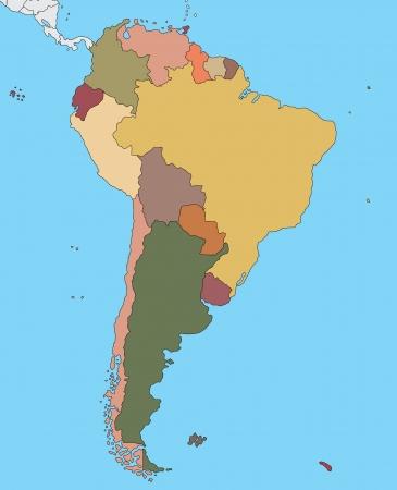 Kleurrijke kaart van Zuid-Amerika