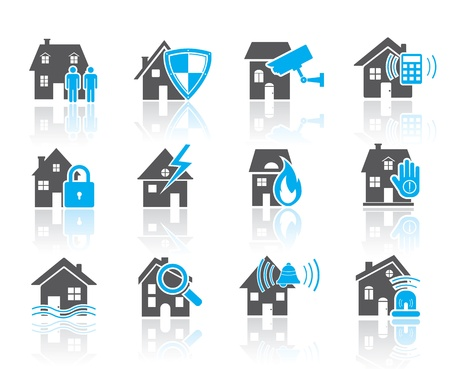 House security icons-blue Vettoriali