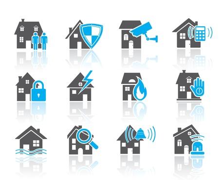 Huis beveiliging iconen-blauw Stock Illustratie