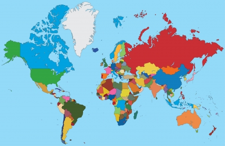 Colorful map of World Vector