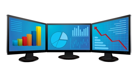 Computer monitors with financial graphs Vector