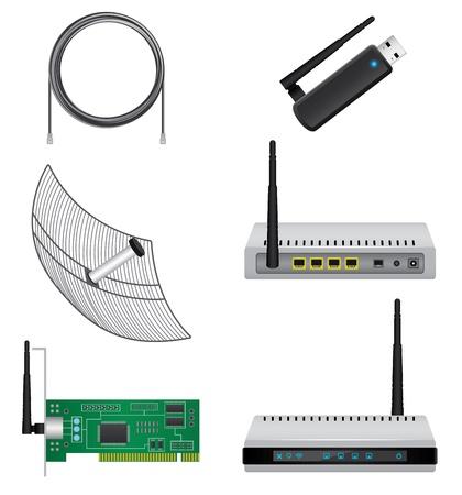dsl: Set di hardware di rete Vettoriali