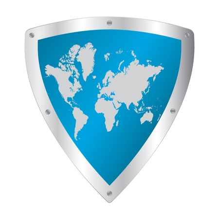 Shield with world map Stock Vector - 20895151