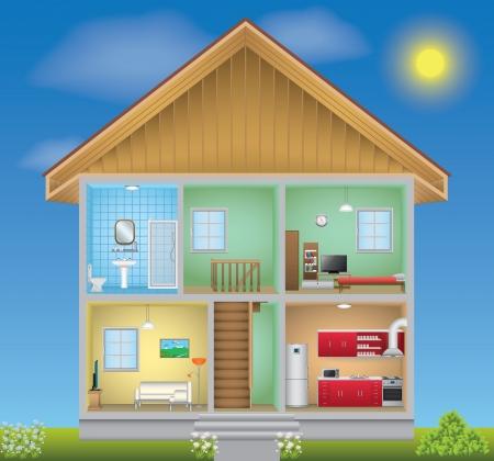 Gedetailleerde huis interieur Stock Illustratie