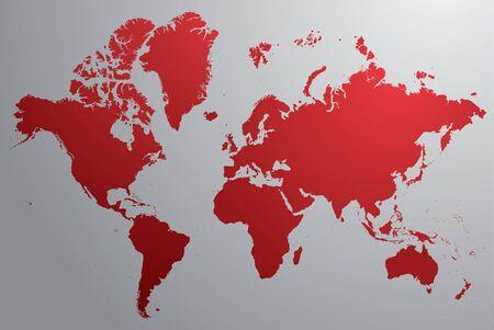 회색 배경으로 빨간색 세계지도