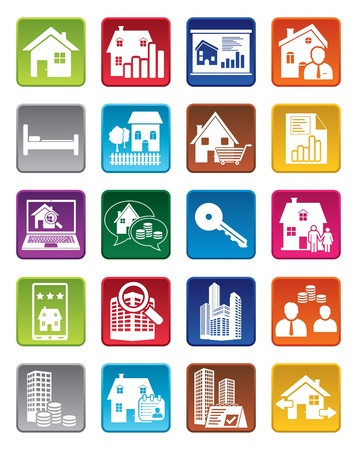 Colorful real estate icons Ilustracja
