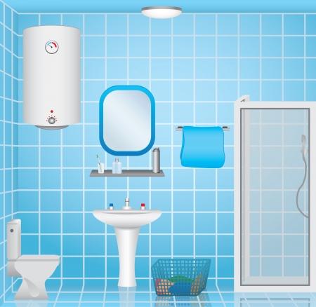 bathroom faucet: Ba?o Interior  Vectores