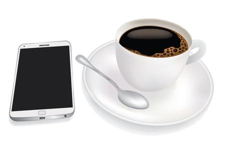 커피와 휴대 전화의 컵